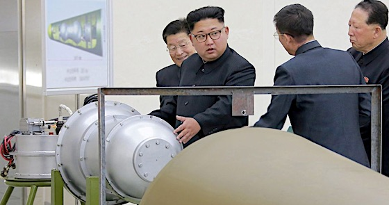 Kim Jong Un and H-Bomb fitting nose cone of ICBM
