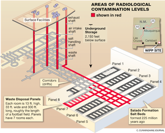 WIPP radiological contamination map