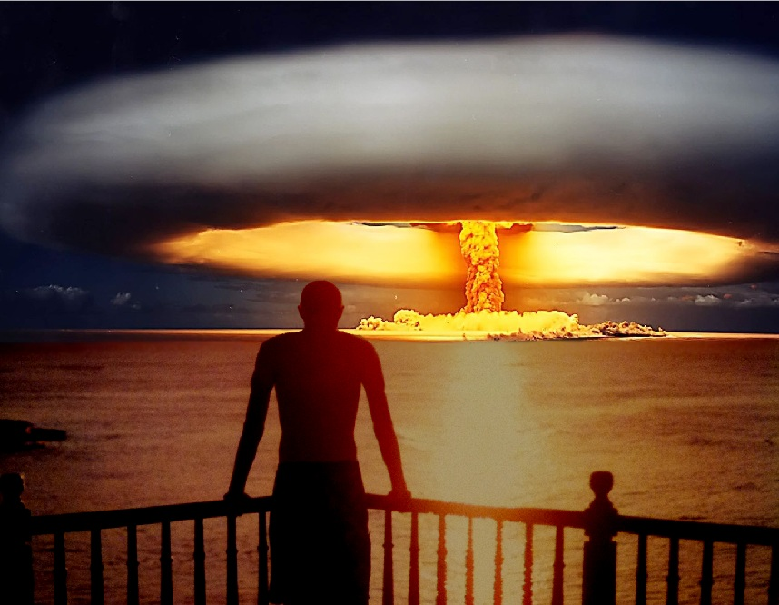 An atomic explosion transfixed over a sunset in the Dominican Republic